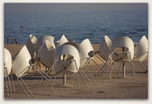 Many chairs on the beach